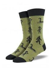 Alien Nessie Sasquatch Crew Socks Big Foot Little Green Man Shoe Size 6-13
