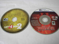 Wolfenstein + Left 4 Dead 2 LOT (PC, 2009) Replacement Discs Only, No Key Codes