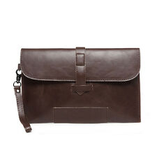 Fashion Men's Leather Handbag Envelop Slim Clutch Messenger Bag Wrist Briefcase