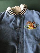 Vintage Disneyland Winnie The Pooh Varsity Jean Denim Jacket L Very Nice!