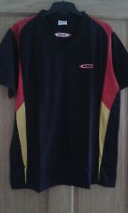 TSP Table tennis Shirt V Neck ( Black with red and yellow)- Size Large