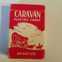 Vintage Pack of Caravan Bridge Sized Playing Cards, 100% Complete, Red Wagon Box