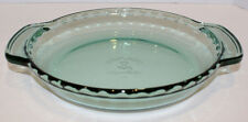 "Anchor Hocking Green Glass 9"" Deep Dish Pie Plate Fluted Edge Handle"