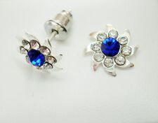 10mm Deep Blue and Clear Crystal & Silver Tone Faceted Stud Earrings