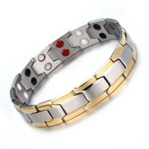 Mens Gold Silver Energy Bracelet Double Strength Powerful Medical Magnets Bangle