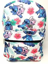 "Disney Lilo and Stitch Allover Print 16"" Girls Large School Backpack-white"