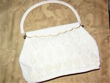 White / silver beaded Hong Kong Purse gold fold over clasp leaf Bag 1950's