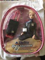 "NEVER OPENED Vintage Delta Flight Attendant 11-1/2"" Doll Uniform +Case+Luggage"