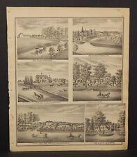 Ohio Portage County Map Chesnut Grove Farm Strawberry Hill Farm Dbl 1874 J17#39