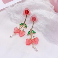 Korean Sweet Pink Heart Shaped Cherry Drop Earrings For Women Girl Jewelry Gift