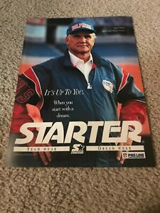 Vintage DON SHULA MIAMI DOLPHINS STARTER JACKET HAT Poster Print Ad 1990s