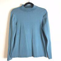 Woman's Pendleton Green Mock Neck Long Sleeve Blouse Size L