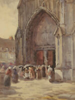 Early 20th Century Watercolour - Crowds Outside a Church