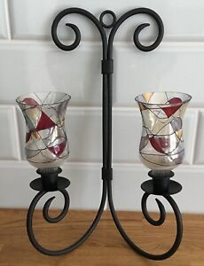 Black Iron with Mosaic Stained Glass Votive Tea Light Wall Mount Candle Holder