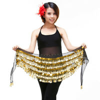 New Belly Dance Hip Scarf Belt 5 layers Sequins&288Pcs Golden Coins 9 colors