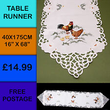 New Chicken Cockerel Rooster Hen Chick Easter Embroidered Table Runner175cm M400