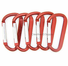 "LOT 50 HIGH QUALITY CARABINER SPRING BELT CLIP KEY CHAIN / 2.25"" / RED ALUMINUM"