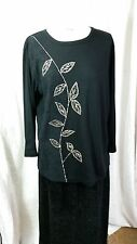 INDIGO MOON Black Embellished in Leaf Design Hip Length Tunic T Shirt Top Size M