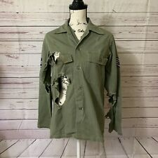 Womens Sz M Army Green Shirt Ripped Torn Distressed Holes Button Up Patches