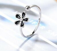 925 Sterlingsilber Damen Ring Ringe Blume Blüte Verstellbar Silber Filigran NEU