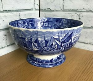 Blue & White Ferrara Wedgwood Footed Fruit Bowl Etruria England Ships Flowers