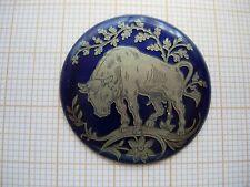 Petit médaillon émail Scene taureau zodiaque émaillé montre watch pocket p11