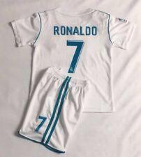 New 2018 Kids Soccer Jersey Real Madrid Cap Home #7 Ronaldo Kit Top+Short Set