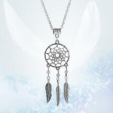 Women Vintage Jewelry Dangling Feather Dream Catcher Pendant Fashion Necklace TR