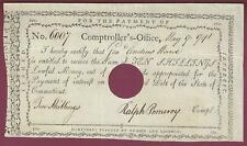 Ralph Pomeroy, Rev. Soldier, Ct Comptroller, Pay Table Document Signed, 1791