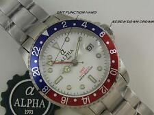 ALPHA GMT-MASTER PEPSI INSERT WHITE DIAL AUTOMATIC WATCH *Ebay Lowest Price*