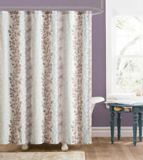Beige and Brown Embossed Fabric Shower Curtain: Floral and Trellis Design