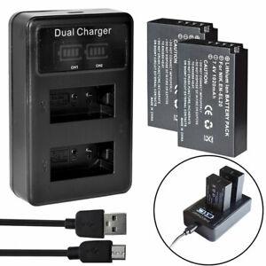 LED USB Charger +2x Battery for Nikon 1 EN-EL20a EN-EL20 MH27 Coolpix P1000 P950