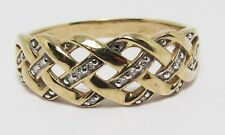 100% Genuine Vintage 9k Solid Yellow Gold Dimonds Knot Mesh Ring Sz 8 US