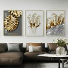 Golden Abstracts Leaf Flower Black White Floral Poster Print Wall Picture Canvas