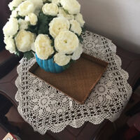 Tablecloth Doily Table Cloth Handmade Crochet Lace Cotton Cover Mat Square Home