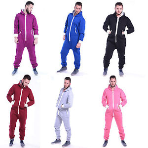 Mens Jumpsuit All In One Piece Plain Hooded Zip Up Comfortable Adults New