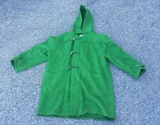 United Colors of Benetton Green Hooded Duffle Toggle Button Long Wool Coat Sz 46