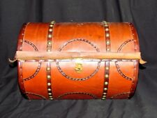 """VINTAGE STEVEN LALIOFF LEATHER 14"""" TRUNK HOPE CHEST"""