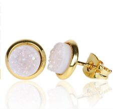 Natural White Round Druzy Stud Earrings Quartz Silver Stone Rock Gold