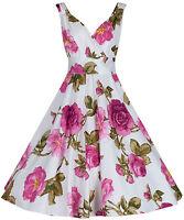 Ladies Vintage 50s style Purple Pink Floral Bridesmaid Party Tea Dress New UK 12