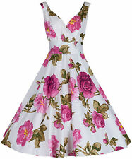 Beautiful Elegant Cotton Purple Pink Floral Bridesmaid Party Tea Dress New UK 12