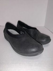 CLARKS CLOUD STEPPERS Black Slip On Loafers Comfort Shoe Womens Size 9.5 M
