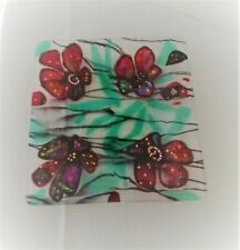 Floral Trinket Glass Dish Decorative Square Iridescent Colors