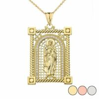 Solid Gold Diamond Saint Mary Pendant Necklace in ( Yellow/White/Rose)