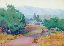 "Antique California Watercolor MARION WACHTEL 'Road to Ranch House' 1904 14"" x18"""