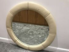 GENUINE Cream Leather LARGE Round Wall Mirror with Contrast Brown Stitch 90cm