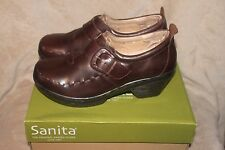NEW SANITA SANGRIA NICKY Brown LEATHER CLOGS SLIP ON SHOES EU 41, 10M