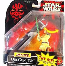 STAR WARS,EPISODE 1 DELUXE PACKAGED QUI-GON JINN C-9 WITH LIGHTSABER, NEW, RARE