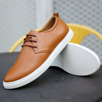 Mens Driving Casual Boat Shoes Leather Flats Moccasin Lace up Loafers Breathable