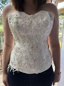 Ladies Size 12 Bandau Corset Top Taken Off Wedding Dress Ivory Embellishment